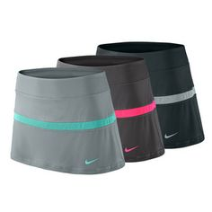Score points for style in the the Nike Women's Court Tennis Skirt. Constructed of high performance poly/spandex fabric, this piece stretches with your movement so you never miss another shot, plus incorporates Nike Dri-FIT UV protection to wick away sweat and shield you from the sun's harmful rays. A built in short provides coverage, support, and a place to stash your gear while keeping it close at hand. #tennisskirt #tennis #nike #tennisskort #fallfashion