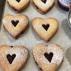 Raspberry Shortbread Hearts from Barefoot Contessa. Preheat the oven to 350 degrees. Cookie Desserts, Just Desserts, Cookie Recipes, Delicious Desserts, Dessert Recipes, Yummy Food, Tasty, Big Cookie, Cookie Bars
