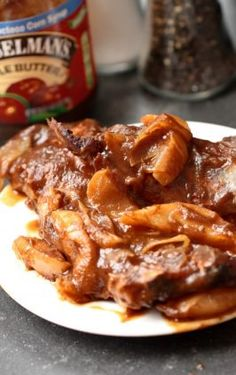 Apple butter bbq Spare ribs done in the Slow Cooker Short Ribs Slow Cooker, Slow Cooker Bbq, Slow Cooker Recipes, Crockpot Recipes, Cooking Recipes, Slow Cooking, Rib Recipes, Great Recipes, Dinner Recipes