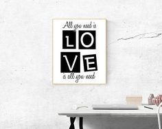 All You Need Is Love  Love Is All You Need Print  Love Print All You Need Is Love, Etsy Handmade, Printable Wall Art, Art Boards, Canvas Wall Art, Framed Prints, Paintings, Group, Amazon