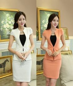 d4aefca39c44 Uniform Design Slim Fashion 2015 Summer Short Sleeve Business Women Suits  With Jackets And Skirt For Ladies Office Blazers Set