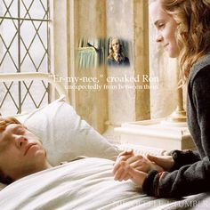 Hermione gave an almost inaudible sniff. She had been exceptionally     quiet all day. Having hurtled, white-faced, up to Harry   outside the hospital wing and demanded to know what had happened,   she had taken almost no part in Harry and Ginny's obsessive   discussion about how Ron had been poisoned, but merely   stood beside them, clench-jawed and frightened-looking, until at   last they had been allowed in to see him.    -Page 400 Harry Potter and the Half Blood Prince