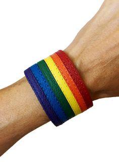Gay pride bracelet, gay flag bracelet, rainbow bracelet, lgbt, rainbow cuff bracelet, lesbian pride, LGBTQ, gay pride leather bracelet. by threedollarbillshop on Etsy