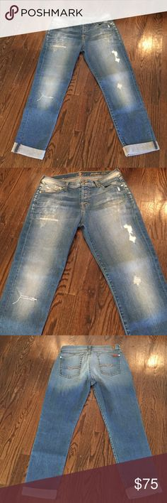 "7's For All Mankind BOYFRIEND JEAN JOSEOHINA BOYFRIEND JEAN: LOOSE FIT, TOO CUTE, PLEASE SIZE DOWN!!! NWOT: INSEAM: 24""  OUTSEAM: 34"" FABRICATION: 98% COTTON/ 2% SPANDEX  DISTRESSING adds TREND!! 7 For All Mankind Jeans Boyfriend"