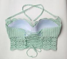 New Cropped Crochet Mermaid. Exclusive M Crochet - Diy Crafts Crochet Bra, Crochet Bikini Pattern, Crochet Mermaid, Crochet Crop Top, Cotton Crochet, Crochet Clothes, Crochet Designs, Crochet Patterns, Diy Crafts Crochet