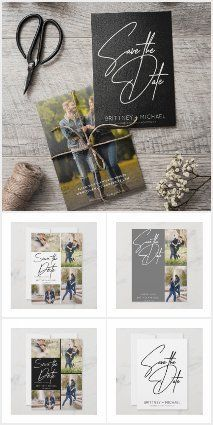This Save the Date collection features many variations from color to layout and to paper type. You will find postcards, magnets, and regular flat cards. This design is modern and simple. If you need additional colors or layout please email christy@bizzybeecreation.com. Grey Save The Dates, Image Collage, Hand Lettering, Postcards, Magnets, Dating, Layout, Flat, Type