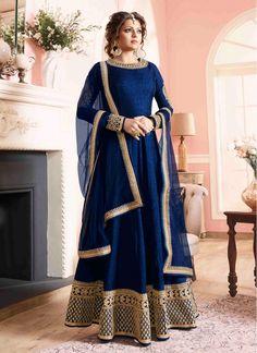 Silk Lace Blue Designer Floor touch Anarkali suit