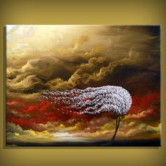 cloud painting tree painting large abstract landscape 22 x 28