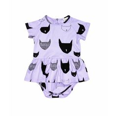 Beau LOves violet cats mini frill dress onesie. Cool & funky Beau LOves baby clothes online.