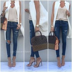 Zara tank and sleeveless coat, AG denim Gucci sandals & bag. White Vest Outfit, Vest Outfits, Casual Outfits, Cute Outfits, Fashion Outfits, Womens Fashion, Ärmelloser Mantel, Work Fashion, Fashion Looks