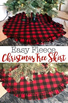 Fleece Christmas tree skirt made with 2 layers of fleece tied around the edge with a velcro closure. Make a quick and easy tree skirt with 2 pieces of fleece. Tied fringe around the outside and a velcro closure finish the tree skirt. Diy Christmas Tree Skirt, Christmas Tree Skirts Patterns, Christmas Sewing, Plaid Christmas, White Christmas, Christmas Wreaths, Farmhouse Christmas Tree Skirts, Christmas Crafts To Make And Sell, Xmas Tree Skirts