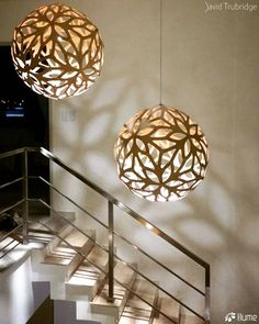 The FLORAL bamboo pendant light was designed three years after CORAL and is based on a geometric polyhedra forms. Floral was designed to offer a softer more decorative offering alongside Coral which is more structured.  Click image for where to buy .