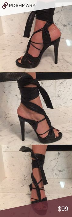 Givenchy black tie up heels A little too small for me, worn once, like new condition! Givenchy Shoes Heels