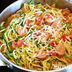 This amazingly simple Italian skillet recipe comes together in just 10 minutes w., This amazingly simple Italian skillet recipe comes together in just 10 minutes with 5 real ingredients, all in one skillet. FINALLY, a dinner you can . Zoodle Recipes, Spiralizer Recipes, Diet Recipes, Cooking Recipes, Healthy Recipes, Cooking Corn, Atkins Recipes, Healthy Cooking, Delicious Recipes