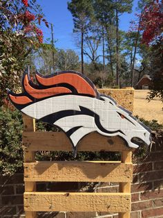 Denver Broncos wooden sign made from reclaimed wood by TheStateSign on Etsy. Wood Pallet Signs, Wood Pallets, Wooden Signs, Wood Flag, Sign Company, Scroll Saw Patterns, Denver Broncos, Pallet Projects, Birmingham