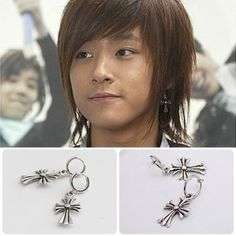 [FTISLAND Style] Cross One Touch Earring(Jae-jin)  Price: $7.00 on Kstargoods.com (The best kpop shop)