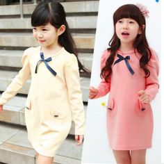Kids Girls Princess Bow Pocket Spring Autumn Long Sleeve Shirts Dress Party Toddlers Tops New Dresses Size 2-7 Y $650,65