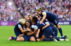 USA women's soccerUSA midfielder Carli Lloyd (second from left) is congratulated by teammates after scoring a goal during the women's soccer gold medal match in the 2012 London Olympic Games at Wembley Stadium. Nbc Olympics, Summer Olympics, Team Usa, London Olympic Games, Carli Lloyd, Jordyn Wieber, Sports Wallpapers, Sports Photos, Olympians