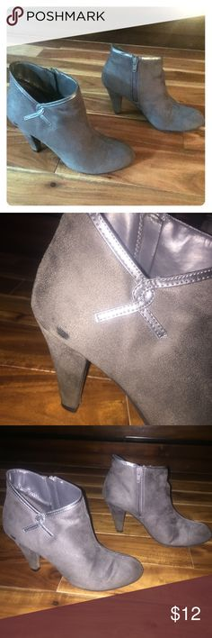 """Gray Bootie Heels Gray faux suede booties with metallic detail. Zipper on side. Approx. 3"""" heel. Runs a bit large, I usually wear 7.5 Predictions Shoes Heeled Boots"""