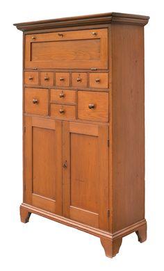 "Standing Trustee's Desk in pine circa 1840. 56"" H x 35-1/2"" W x 14-1/2"" D."