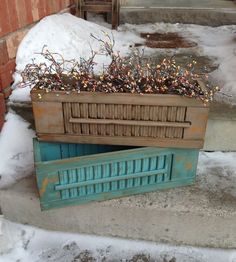 Old shutters repurposed as trough