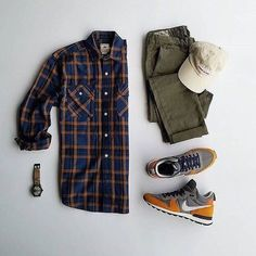 Men's outfit grid - olive green chinos and flannel shirt