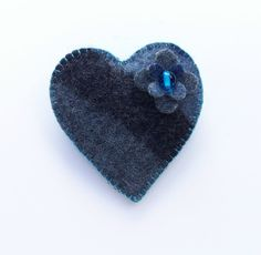 SEIRIOL  Grey Black and Blue Love Heart  Felt Brooch by cherrypips, $18.50