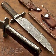 Hand Made By Blaze Knives RARE CUSTOM DAMASCUS BOWIE KNIFE MICARTA HANDLE 1024 #BLAZEKNIVES