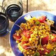Charred Corn Salad with Basil and Tomatoes - No room on the grill? Cut the kernels from the cobs and char with 1 tablespoon olive oil in a cast-iron skillet on the stove.