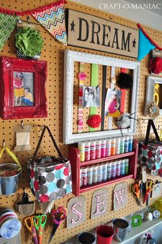 Love this peg board idea for craft room -the baskets with handle for pegboard would be great for buttons, bobbins, all the small stuff! Space Crafts, Home Crafts, Arts And Crafts, Diy Crafts, Craft Space, Craft Room Storage, Craft Organization, Craft Rooms, Wall Storage
