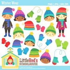 Clip Art: Winter Wear - Winter theme clipart - for personal, educational and small-business use. $4.50