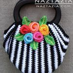 Free Pattern from OVW - Crochet Swag Bag Purse with Crochet Flowers - Crocheted by Naztazia absolutely LOADS of free crochet tutorials at this site Crochet Diy, Mode Crochet, Crochet Shell Stitch, Crochet Tote, Crochet Handbags, Crochet Purses, Bead Crochet, Crochet Crafts, Crochet Hooks