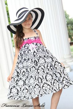 Custom damask formal black white pink twirl dress - Kentucky Derby Marinanne - French European children's boutique clothes
