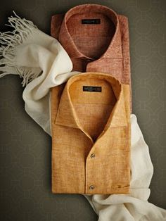 Wool/silk/cashmere-mix scarf - One-piece collar Pure linen flannel shirts