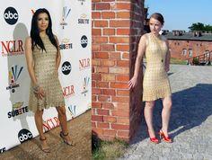Gold crochet dress inspired by Diane von Furstenberg.