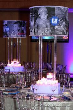 Bar Mitzvah Centerpieces, Photo Chandelier, Football Theme (Chad David Kraus Photography) - mazelmoments.com