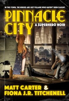 Time to share the unbelievably gorgeous cover for Pinnacle City: A Superhero Noir! The detail on this thing is insane. And as for this inside, it's brimming with dark humor, #comics riffing, social satire, and gritty #noir atmosphere.