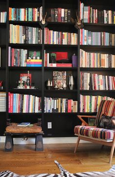 Black Built-in Bookshelves