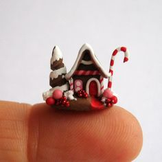 TINY Handcrafted Miniature CHRISTMAS FAIRY GINGERBREAD HOUSE - OOAK by C. Rohal #CRohal