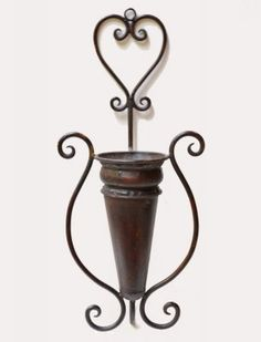 Large Metal Wall Vase or Scone Perfect for Silk Flowers or Greenery V-09