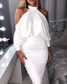 Halter Cold Shoulder Backless Bodycon Dress trendiest dresses for any occasions, including wedding gowns, special event dresses, accessories and women clothing. Formal Dresses For Women, Tight Dresses, Cute Dresses, Dress Outfits, Fashion Dresses, Look Fashion, Womens Fashion, Classy Outfits, Pattern Fashion