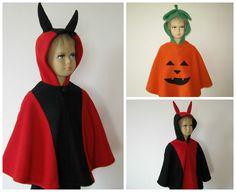 karneval fasching halloween kostüm cape umhang kleinkinder fleece teufel kürbis
