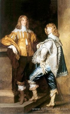 Cavalier period. Portrait of Lord John Stuart and his brother Lord Bernard Stuart (later Earl of Lichfield) by Sir Anthony van Dyck, c. 1638. The main feature of this period is a raised waistline for both men and women. It moved to the middle of the torso, not quite as high as the under the bust empire styles we'll see in early 19th century womens wear, but not at the natural waist either. Heavy silk satins were the favored fabric.