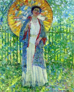 1908c Frederick Frieseke (American artist, 1874-1939)  The Japanese Parasol