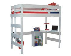 Loft bed with quad desk and pedestal shelf