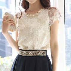 Com: compre 2015 nova moda elegante beading lace bordados Trendy Dresses, Elegant Dresses, Love Fashion, Womens Fashion, Style Fashion, Fashion Brand, The Dress, Shirt Blouses, Lace Blouses
