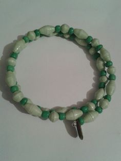 Light green paper beads on memory wire