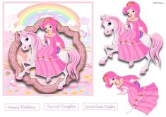 - All pretty in pink our lovely princess is sitting on her unicorn. Decoupage the princess and the unicorn. Little girls wil. Happy Birthday Princess, Girl Birthday, Kids Girls, Little Girls, C Is For Cat, Penguin Parade, Decoupage Paper, Card Designs, The Little Mermaid