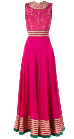 Fusia pink zardozi embroidered suit BY SVA. Shop now at perniaspopupshop.com