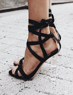 Black Strappy Heels with Clear Heel. Black Strappy High Heels, Womens High Heels, Dream Shoes, Crazy Shoes, Cute Shoes, Me Too Shoes, Shoe Boots, Shoes Heels, Clear Heels